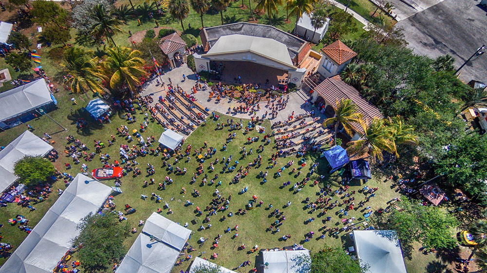Drone Aerial Photography of the 2018 Palm Beach Pridefest in Brynatt Park, Lake Worth Beach, Florida