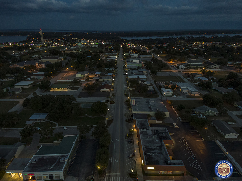Aerial Photograph of Downtown looking east along Interlake, Lake Placid Florida