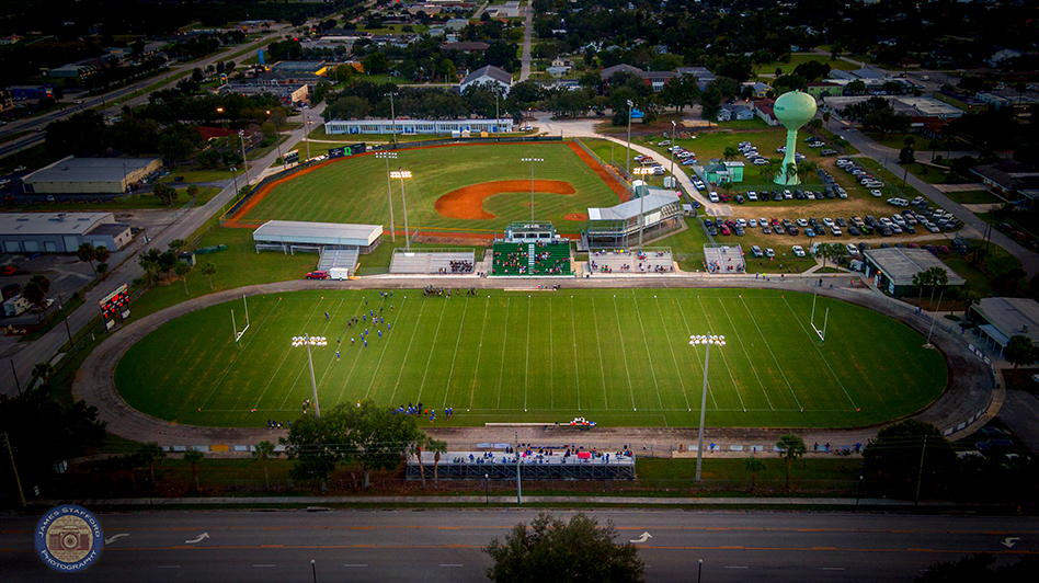 Aerial Photo Lake Placid High School Football Field in Downtown Lake Placid, Florida