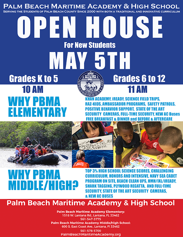 Open House Flier for the Palm Beach Maritime Academy and High School