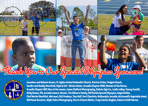 Sponsor Thank You Post Card DeSoto Special Olympics Project